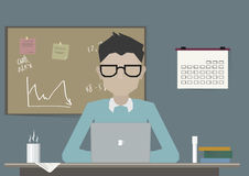 Student, Scientist, Pupil Researching and Studying at Workplace Desk with Laptop. Flat Vector Illustration Royalty Free Stock Photo