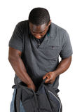 Student searching through bag royalty free stock photo