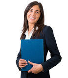 Student , secretary or business woman. With folder Royalty Free Stock Photography