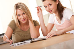 Student series -  Two girls doing homework Stock Photography