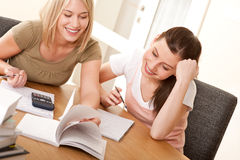 Student series - Two girls studying together Royalty Free Stock Photo