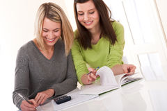 Student series - Two students writing homework Royalty Free Stock Images