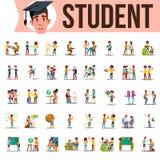 Student Set Vector Livsstillägen Spendera Tid, på högskolan, universitet, universitetsområde, skola, hem som är utomhus- isolerat stock illustrationer