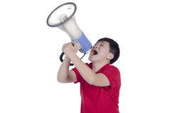 Student shouting through megaphone Stock Photos