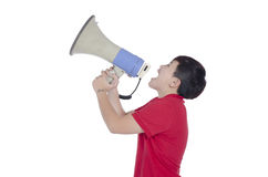 Student shouting through megaphone Royalty Free Stock Photography