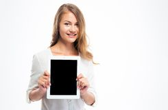Student showing blank tablet computer screen Royalty Free Stock Images