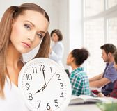 Student showing clock Royalty Free Stock Photography
