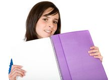 Student showing notebook Stock Image