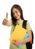 Student showing OK sign. Student showing thumb up isolated on white background Stock Image