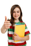 Student showing OK sign Stock Image