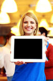 Student showing tablet computer screen Royalty Free Stock Photography
