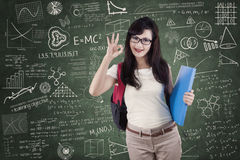 Student shows approval hand gesture Royalty Free Stock Images