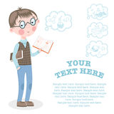 Student shows his notebook with the study. Modern student standing with a notebook in hand on white background vector illustration