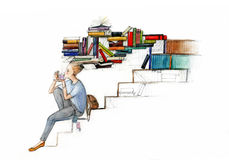 Student siesta vector illustration