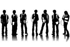 Student Silhouettes Royalty Free Stock Photos