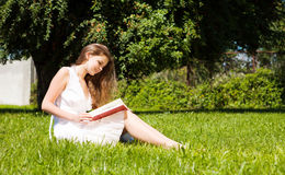 Student sit on lawn and reads textbook Stock Photo