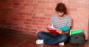 Student sitting against wall reading textbook Royalty Free Stock Images