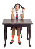 Student sitting behind the desk Royalty Free Stock Image