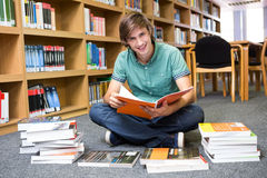 Student sitting on floor in library. At the university Royalty Free Stock Image