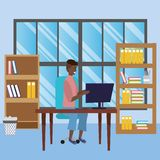 Student sitting in library desk background. Student afro man sitting in library study room desk with background window and book shelves with computer using vector illustration