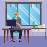 Student sitting in library desk background. Student bearded blond man sitting in library study room desk with background window and drawers with computer using stock illustration