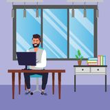 Student sitting in library desk background. Student caucasian bearded man sitting in library study room desk with background window and drawers with computer royalty free illustration