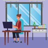 Student sitting in library desk background. Student hair bun woman sitting in library study room desk with background window and drawers with computer using royalty free illustration
