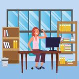 Student sitting in library desk background. Student redhead woman sitting in library study room desk with background window and book shelves with computer using vector illustration