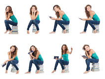 The student sitting on stack of books Stock Photos