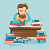 Student sitting at the table with piles of books. Stock Images