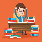 Student sitting at the table with piles of books. royalty free illustration