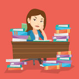 Student sitting at the table with piles of books. Royalty Free Stock Photos