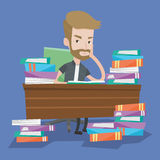 Student sitting at the table with piles of books. Royalty Free Stock Image