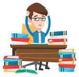 Student sitting at the table with piles of books. Royalty Free Stock Photo