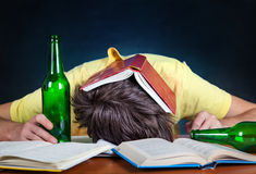 Student sleep with a Beer Royalty Free Stock Images