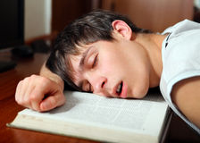 Student sleep on the Book Stock Image
