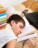 Student sleep with a Books Stock Photo
