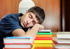 Student sleep on the Books Royalty Free Stock Image