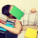Student sleep with the Books Royalty Free Stock Photos