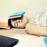 Student sleep with the Books Stock Photography