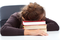 Student sleeping during boring lecture Stock Photos