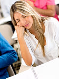 Student sleeping in class Royalty Free Stock Images