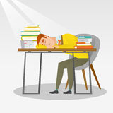 Student sleeping at the desk with book. Fatigued student sleeping at the desk with books. Tired student sleeping after learning. Man sleeping among the books at Royalty Free Stock Photos