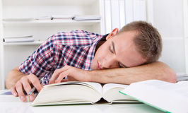 Student sleeping at desk Royalty Free Stock Photo