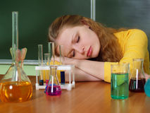 The student sleeping at a lesson Stock Photos