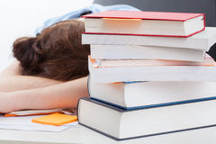 Student sleeping after long studying Stock Photo