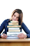 Student sleeping over books at the table Royalty Free Stock Photos