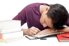 Student Sleeping While Studying Stock Photography