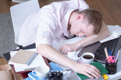 Student sleeping on table Royalty Free Stock Image