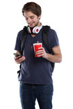 Student with smartphone cola drink young man people isolated Stock Photo